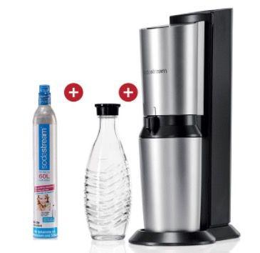 Sodastream Crystal Wassersprudler + Glaskaraffe + 60L Zylinder für 79,99€