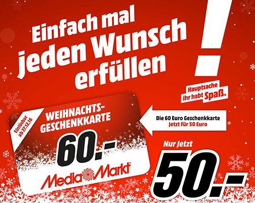 Reminder! 60€ Media Markt Geschenkkarte für 50€   bereits Online nutzbar!