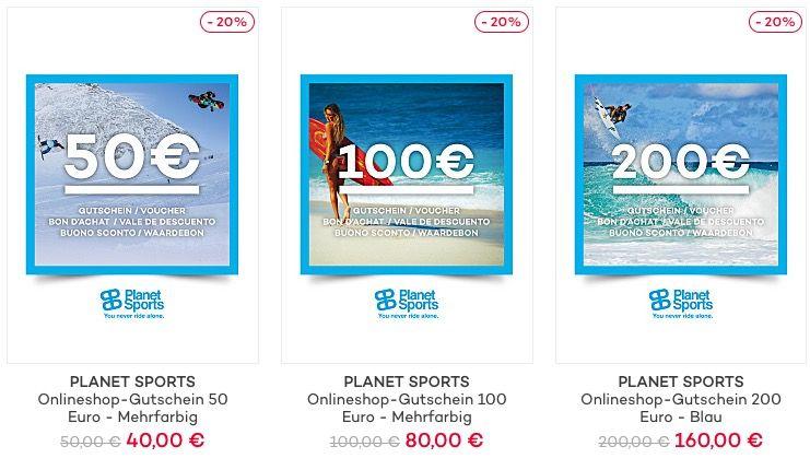 TOP! 20% auf Planet Sports Geschenkgutscheine
