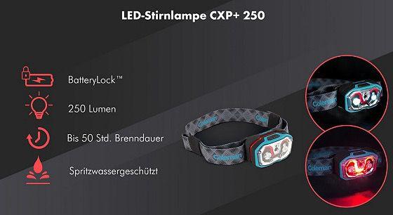 Coleman Stirn  & Taschenlampen Sale   z.B. CXP+ 250 für 34€ (statt 42€)