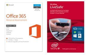 Microsoft Office 365 Personal + McAfee LiveSafe 2016 für 33€ (statt 56€)