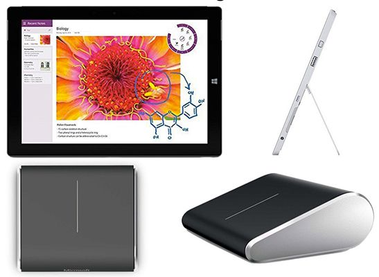 Microsoft Surface 3 WLAN Tablet mit 32GB + Microsoft Wedge Touch Mouse ab 334€