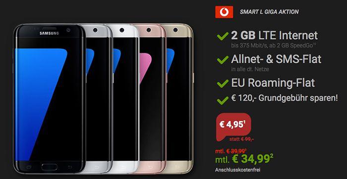 Red Friday Deals bei Sparhandy   z.B. Vodafone Smart L mit 2GB LTE + Galaxy S7 für 35€ mtl.