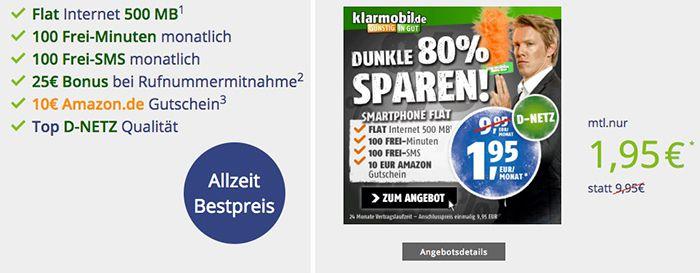 Letzte Chance! Vodafone Tarif mit 100 Min + 100 SMS + 500MB für 1,95€ mtl. + 10€ Amazon.de Gutschein