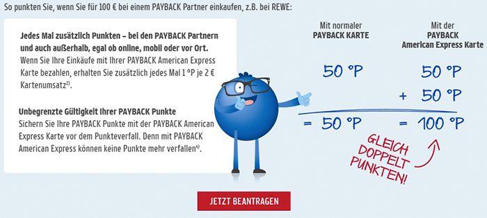 Payback American Express Kreditkarte dauerhaft kostenlos + 3.000 Punkte