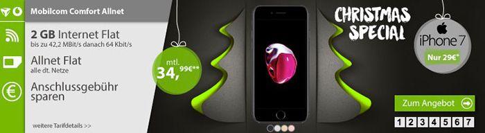 Vodafone Comfort Allnet mit 2GB + iPhone 7 für 34,99€ mtl.