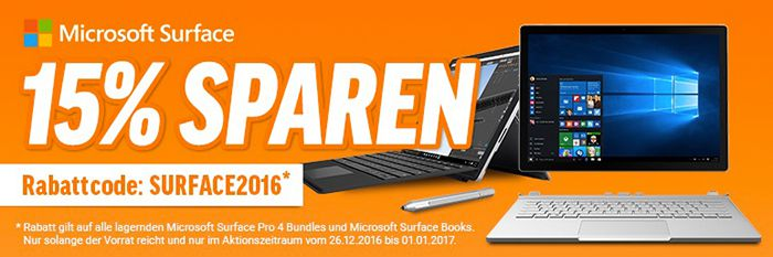 15% auf Microsoft Surface Pro 4 + ggf. 75€ Payback Cashback