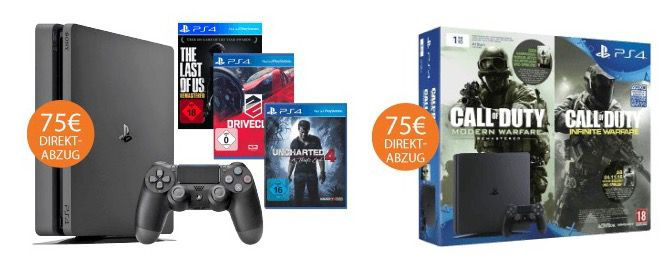 Nur heute! Playstation 4 Angebote mit 75€ Sofort Rabatt   z.B. PS4 slim 500GB für 214€