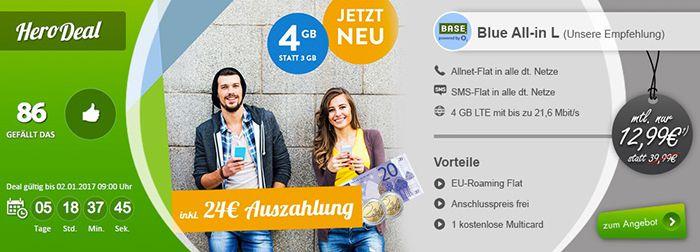 BASE Blue All in L mit 4GB LTE für nur 12,99€ mtl. + 24€ Cashback