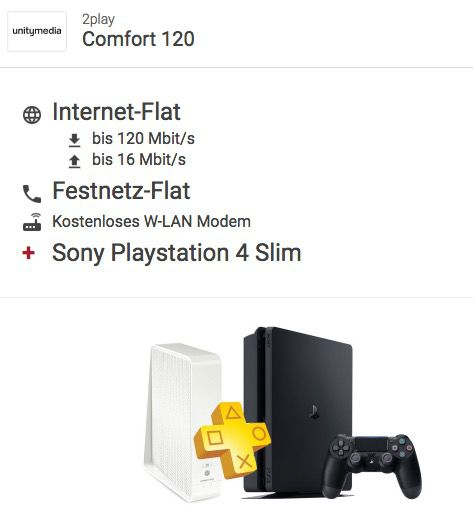 Unitymedia 2play Comfort 120 für 39,16€ mtl. + Playstation 4 slim