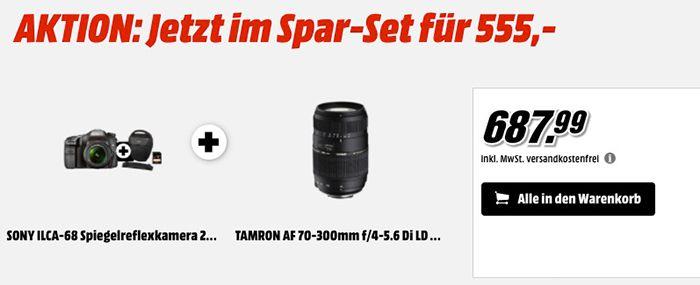 Sony Alpha 68 Spiegelreflexkamera im Set mit 2 Objektiven, Tasche & Speicherkarte für 555€ (statt 644€)