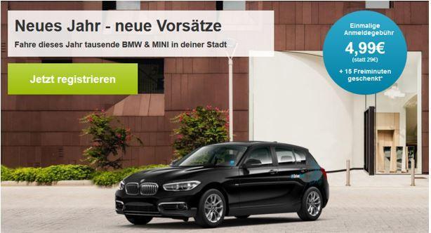 Carsharing Bestpreis Drive Now   für Neukunden statt 29€ für 4,99€ + 15 Freiminuten