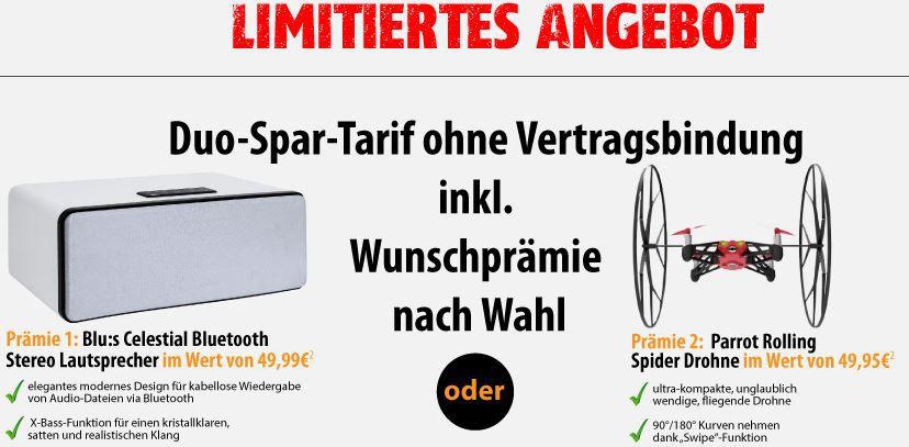 Celestial BT Lautsprecher oder Rolling Spider Minidrohne statt je 50€ dank 2 Kostnix Verträgen für je nur 3,90€