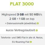 O2 Voll Flat mit 3GB + Telefonie + SMS Flat 15,74€ mtl.