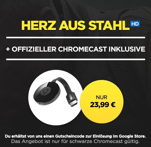 Google Chromecast 2 + HD Stream Herz aus Stahl für 23,99€ (36€)