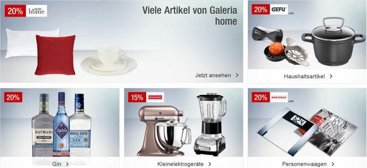 Galeria Kaufhof Feiertagsangebote   20% Rabatt auf GIN, Handtaschen, Sportartikel, Spiele & mehr