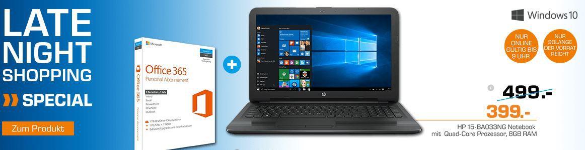 HP 15 BA033NG   15,6 Notebook mit AMD CPU, 8GB RAM, 1TB HDD + Office 365 für nur 399€