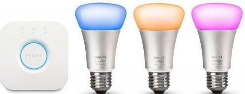 HUE Starter Philips Hue Starterkit   3 E27 LED 3W + Bridge für 129€