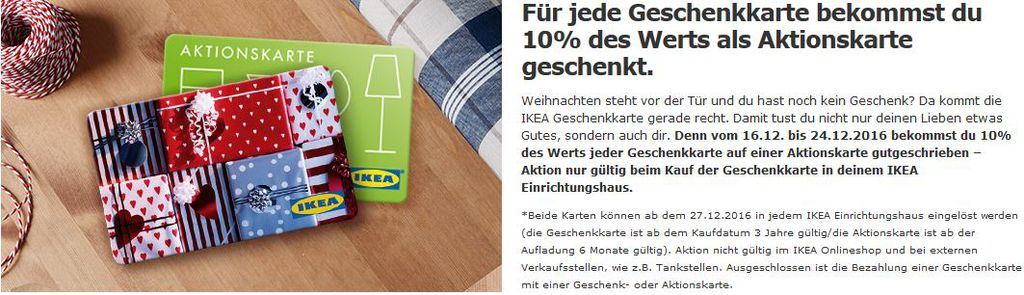 Tipp: Ikea: Geschenkkarten kaufen und 10% des Wertes zusätzlich geschenkt bekommen