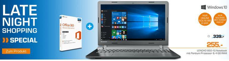Late Night Notebook Angbeot Lenovo B50 10   15,6 Notebook + Office 365 für 255€ (statt 315€)