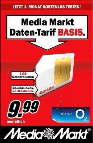Media Mark Startercard: 1 Monat 1GB O2 Daten für nur 1€ statt 9,99€ muss gekündigt werden