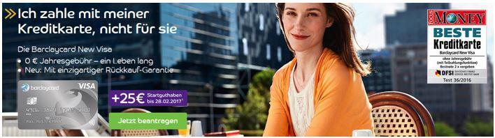 New VISA TOP! Barclaycard New Visa mit 25€ Startguthaben   dauerhaft beitragsfreie Kreditkarte