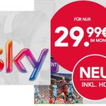 Sky Komplett – Sky Entertainment, Bundesliga, Sport + Cinema + HD + Sky Go + Receiver für 29,99€ mtl. Neukunden