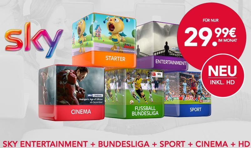 Sky Bundesliga Angebot Sky Komplett   Sky Entertainment, Bundesliga, Sport + Cinema + HD + Sky Go + Receiver für 29,99€ mtl.