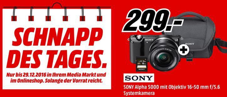 Sony Alpha 5000 Systemkamera + Objektiv 16 50 mm + Speicherkarte + Tasche für nur 299€ (statt 400€)