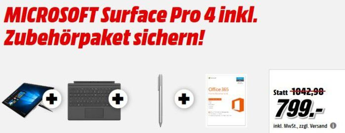 Microsoft  Surface Pro 4 Tablet + Office 365 + TypeCover für 799€