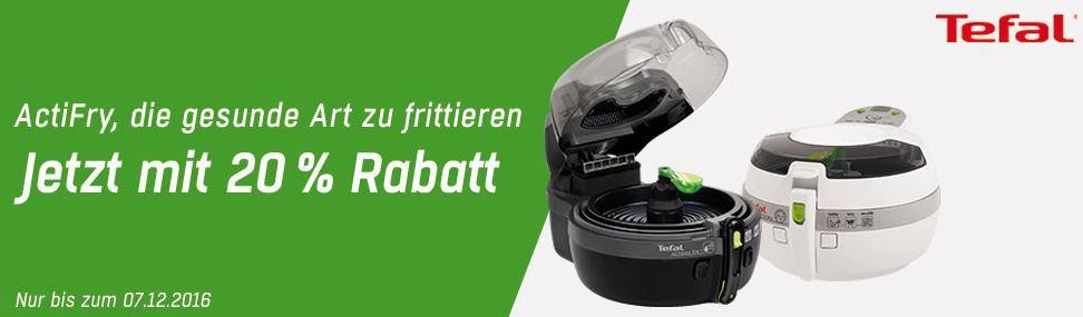 20% Sofort Rabatt auf ausgewählte TEFAL Produkte: z.B. Tefal FZ7070 ActiFry Heißluft Fritteuse  ab 106,92€