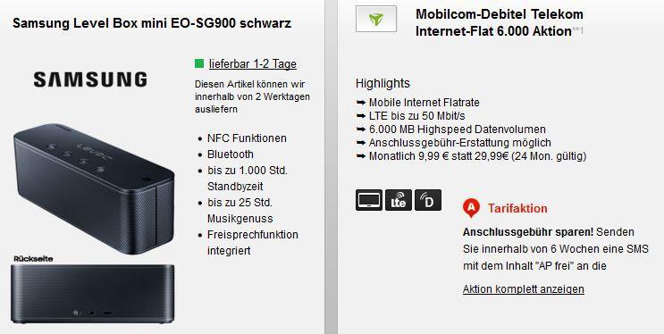 6GB Telekom LTE bis 50 Mbit/s + Samsung Level Box mini EO SG900 BT Lautsprecher für 9,99€ mtl.