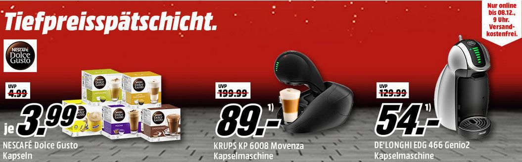 Media Markt Nescafe´Dolce Gusto Tiefpreisspätschicht: DOLCE GUSTO Kaffeekapseln für 3,99€