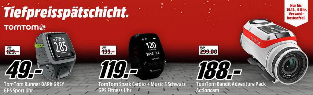 Media Markt TomTom Tiefpreisspätschicht   z.B. TOMTOM Runner GPS Sportuhr für: 49,  statt 80€