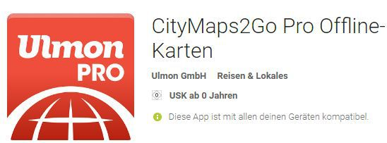 CityMaps2Go Pro (Android, iOS) kostenlos statt 5,99€