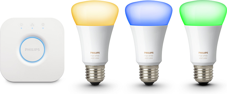 Philips Hue Starterkit (4. Generation)   3 E27 LED 10W + Bridge für 99€ (statt 131€)