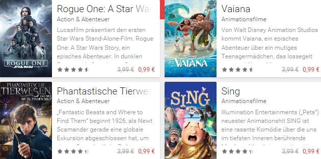3 Leihfilme für je 0,99€ im Google Play Store