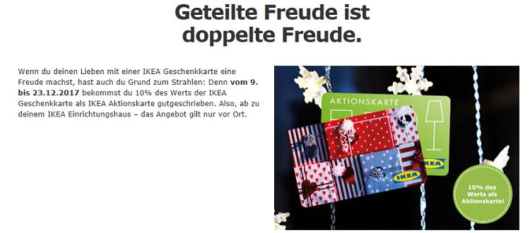 Nur noch heute! IKEA: Geschenkkarten kaufen und 10% des Wertes zusätzlich geschenkt bekommen