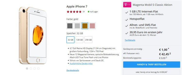 iPhone 7 nur 1€ (statt 649€) + Telekom Magenta Mobil S mit 1 GB und All Net Flatrate für 42,45€mtl.