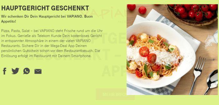 Gratis Hauptgericht bei Vapiano (nur für Telekom Kunden)