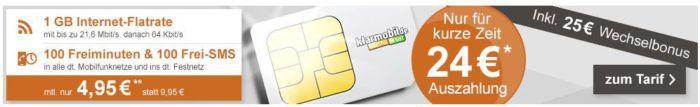 klarmobil Smart Flat mit 100 Minuten + 100 SMS + 1GB für 3,95€mtl. + 24€ Cashback