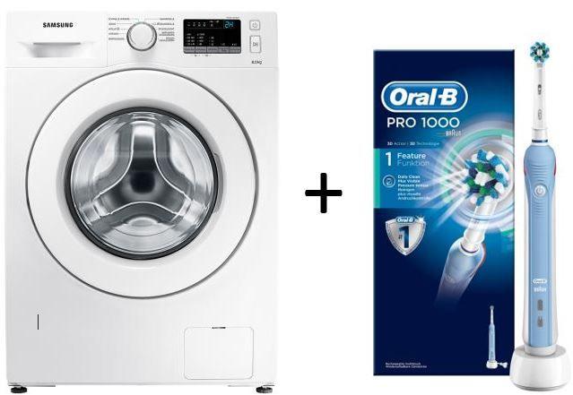 Waschmaschinen Bundle Samsung WW80J34D0KW Waschmaschine + Oral B Pro 1000 eZahnbürste statt 572€ für nur 329€