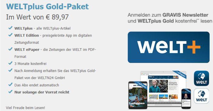 3 Monate WELTplus Gold Paket (Wert 89,97€) kostenlos bei Newsletteranmeldung