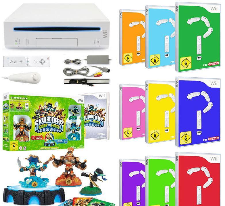 Nintendo Wii Konsole + Skylanders Swap Force + 9 GRATIS Spiele für 88,88€
