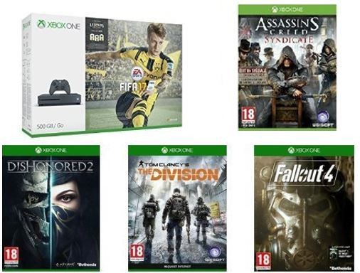 Xbox One S 500 GB + Fifa 17 + Assassins Creed : Syndicate + Fallout 4 + The Division  + Dishonored 2 für 305,55€