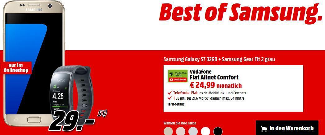 Samsung Galaxy S7 + Samsung Gear Fit 2 + Vodafone AllNet Flat + 1 GB Daten für nur 24,99€ mtl.