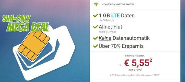 TOP! o2 Comfort Allnet Flat mit 1GB LTE für 5,55€ oder 2GB für 8,98€