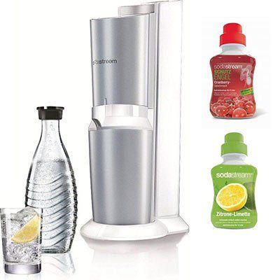 Sodastream Crystal Premium Wassersprudler + Glaskaraffe + 60L Zylinder + 2x Sirup für 84,90€ (statt 152€?)