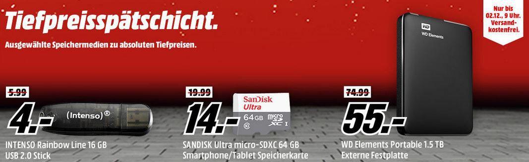 SANDISK Ultra Fit USB Stick 128 GB  für 25,00 bei der MediaMarkt Speicher Tiefpreisspätschicht