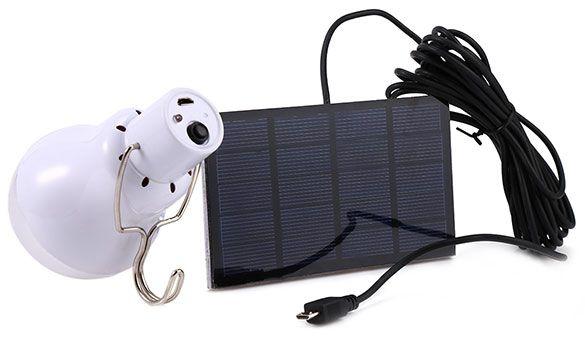 Solarzelle & LED Lampe mit Akku für 3,41€